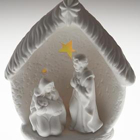 Natività illuminata con capanna ceramica s6