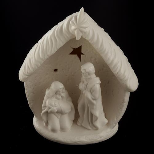 Natività illuminata con capanna ceramica 2