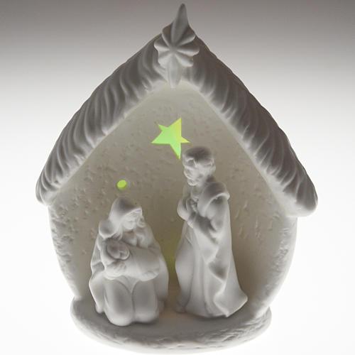 Natività illuminata con capanna ceramica 5