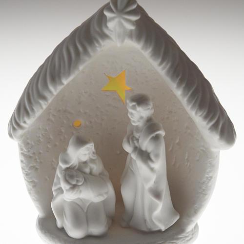 Natività illuminata con capanna ceramica 6