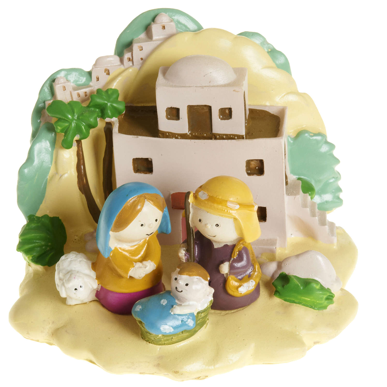 Natividad con paisaje resina colorada 8 x 12 3