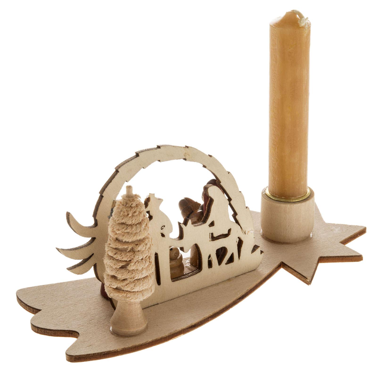 Piccolo presepe russo legno abete con candela 3
