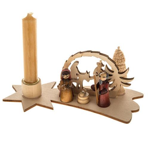 Piccolo presepe russo legno abete con candela 1