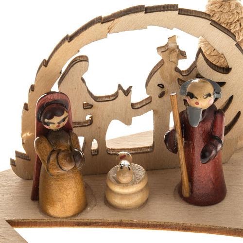Piccolo presepe russo legno abete con candela 2