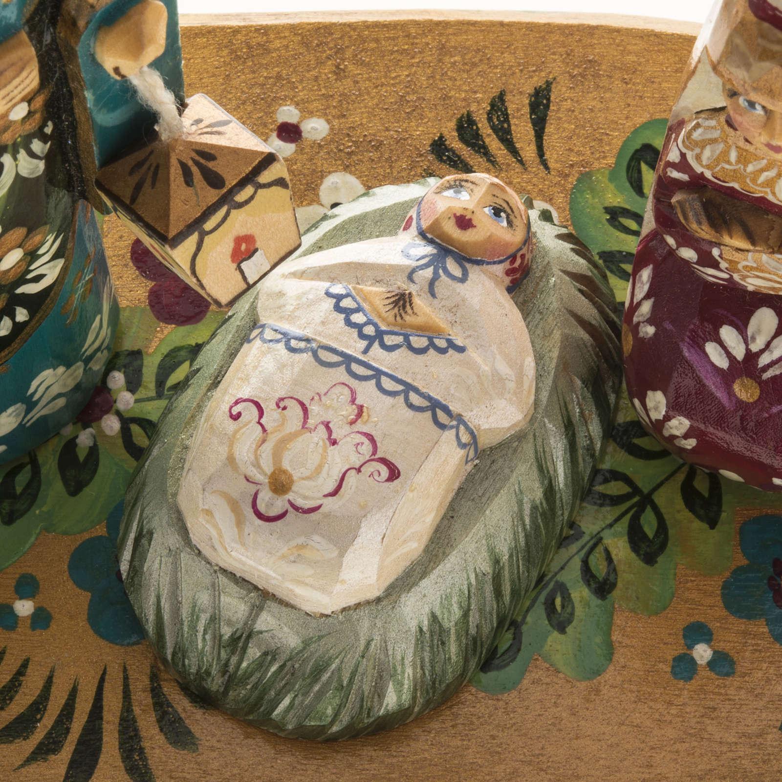Presepe russo stilizzato legno abete con archetto 3