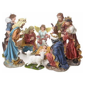 Nativity scene in resin with gold finish, 12 figurines, 52cm s1