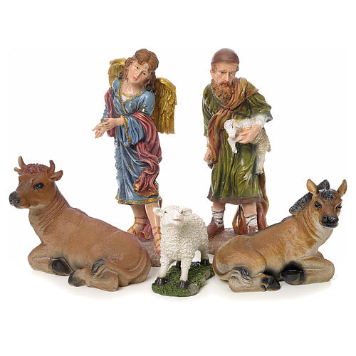 Nativity scene in resin with gold finish, 12 figurines, 52cm 5