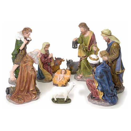 Crèche complète 10 santons résine 50cm modèle adoration 1