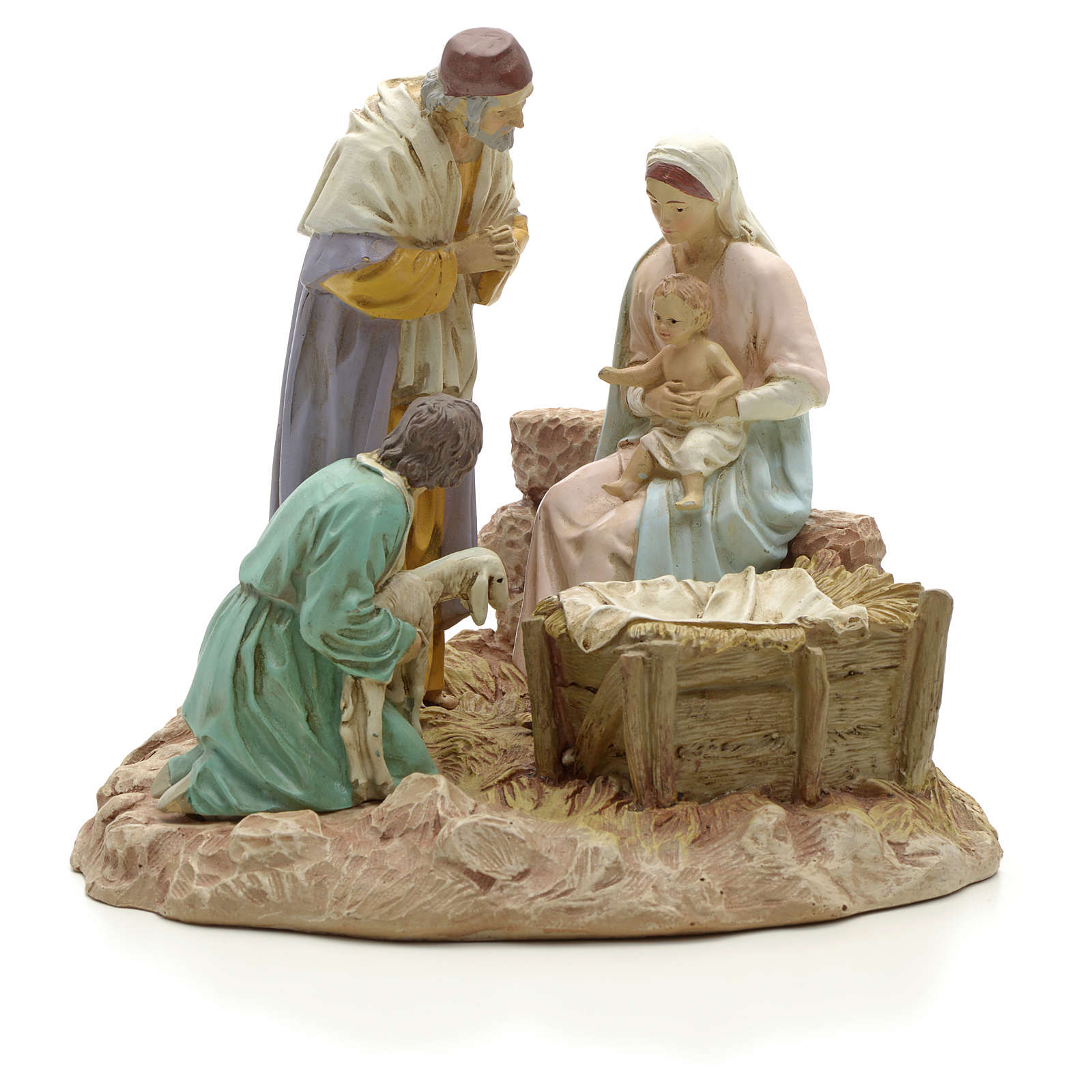 Nativity with shepherd on base, painted resin 16 cm STOCK 3