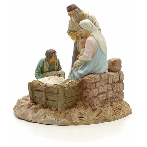 Nativity with shepherd on base, painted resin 16 cm STOCK 2
