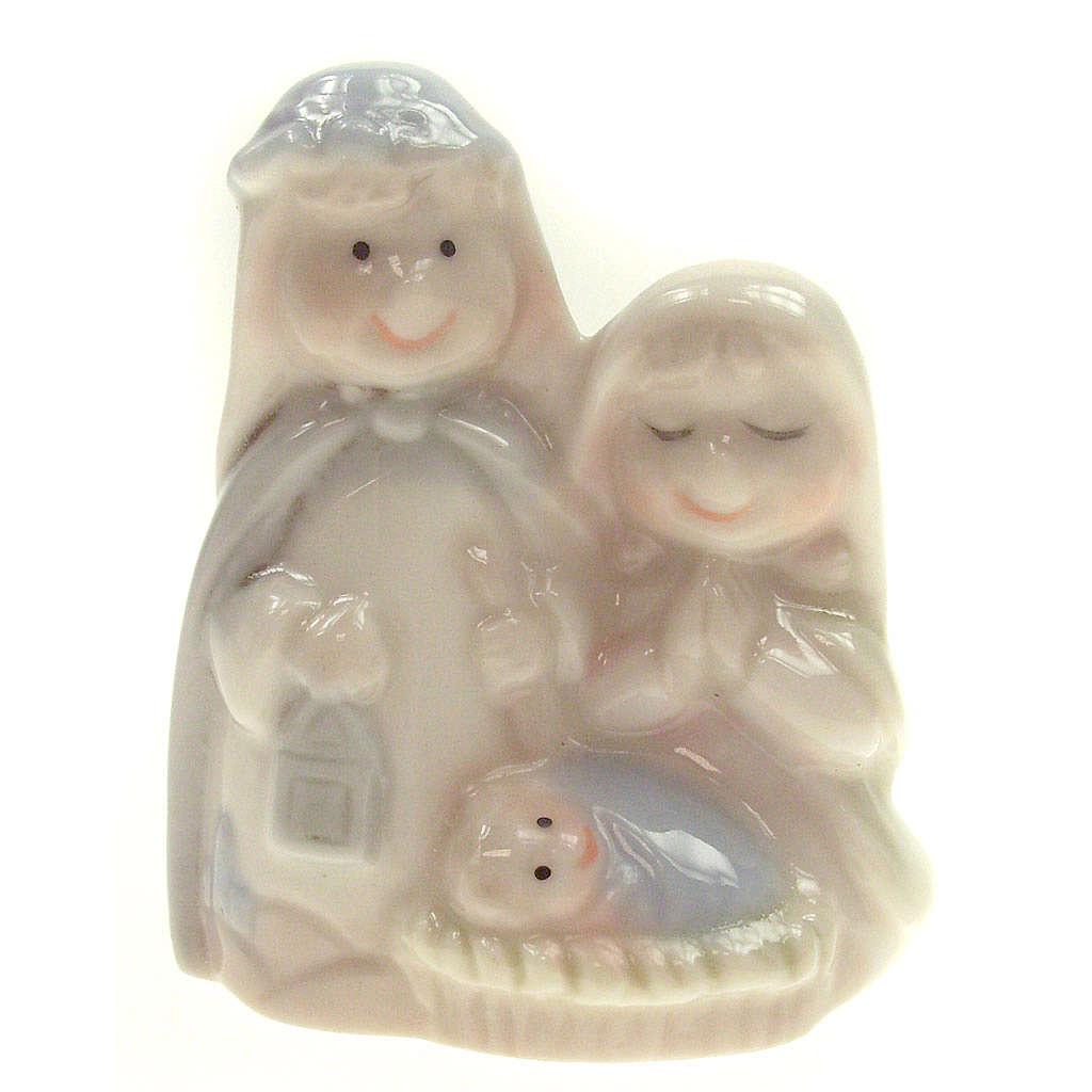 Nativity scene in ceramic, 6cm, shiny finish 3