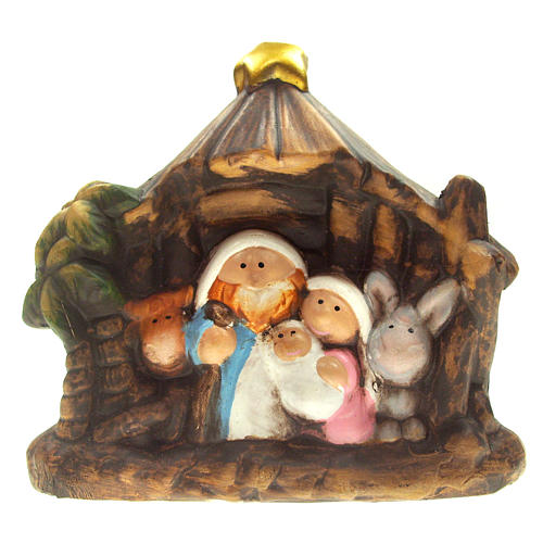 Nativity scene with stable and statues in ceramic, 11.5cm 1
