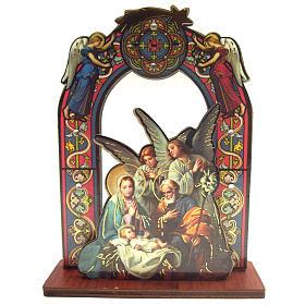 Nativité: Image Sainte Famille et anges sur base 11cm