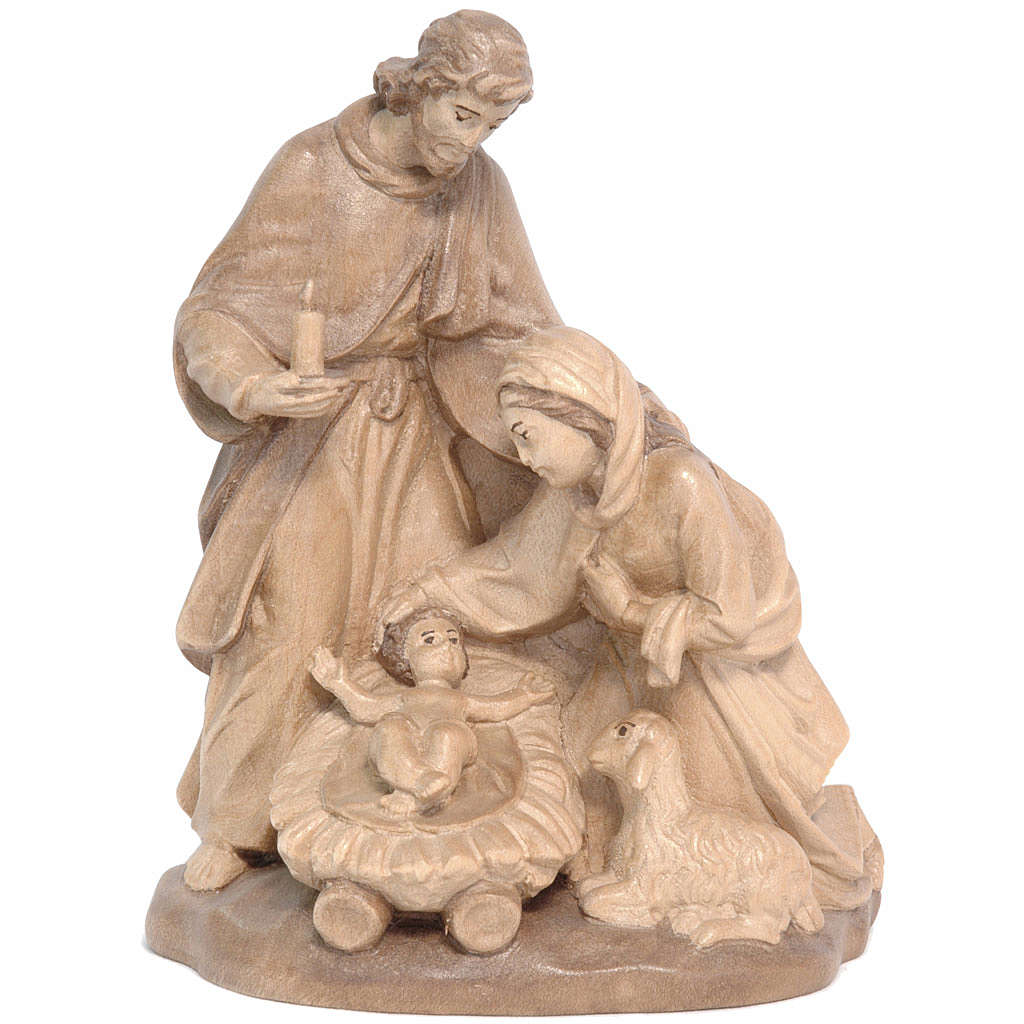 Holy Family with sheep in Valgardena wood, multi-patinated 3