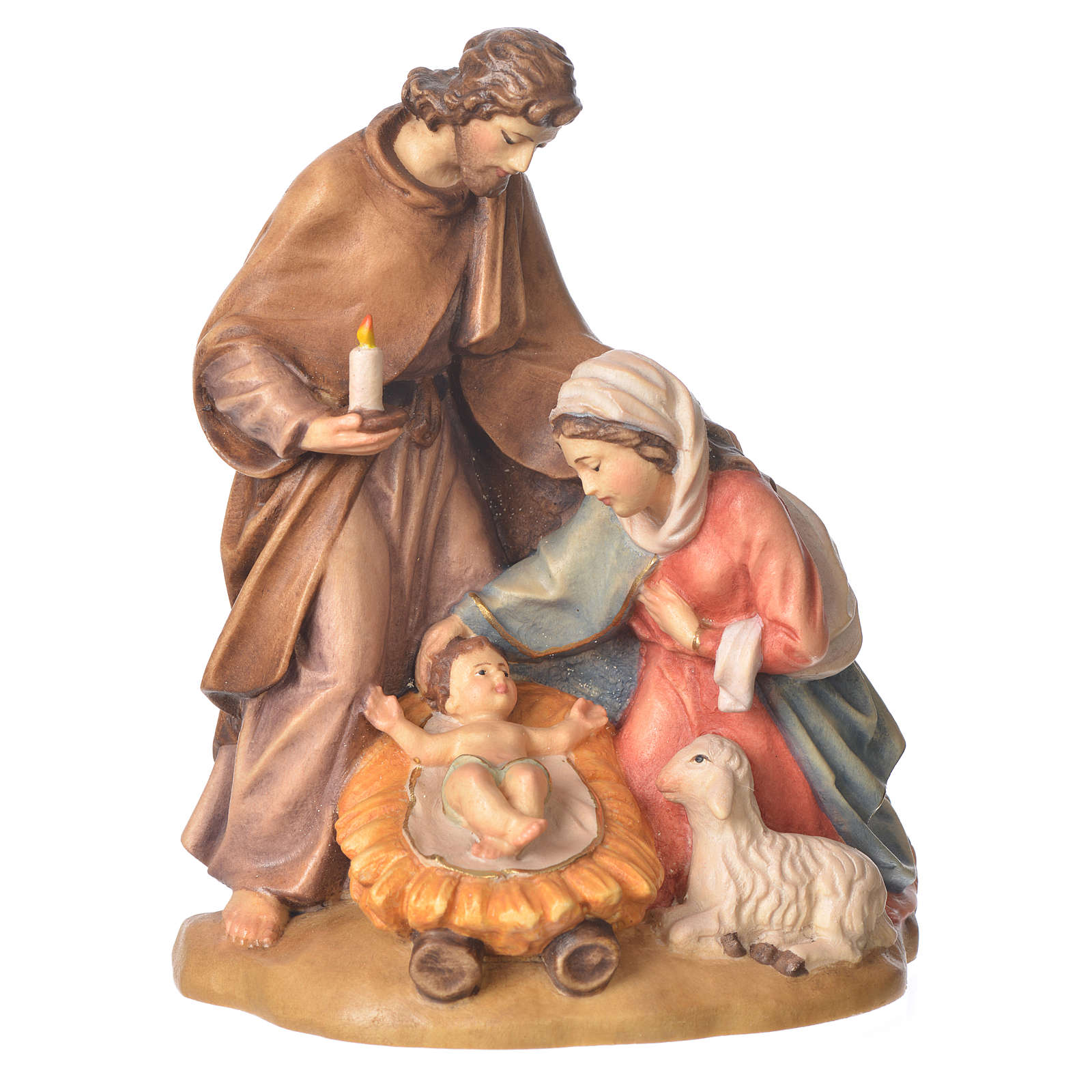 Holy Family with sheep in painted Valgardena wood 3