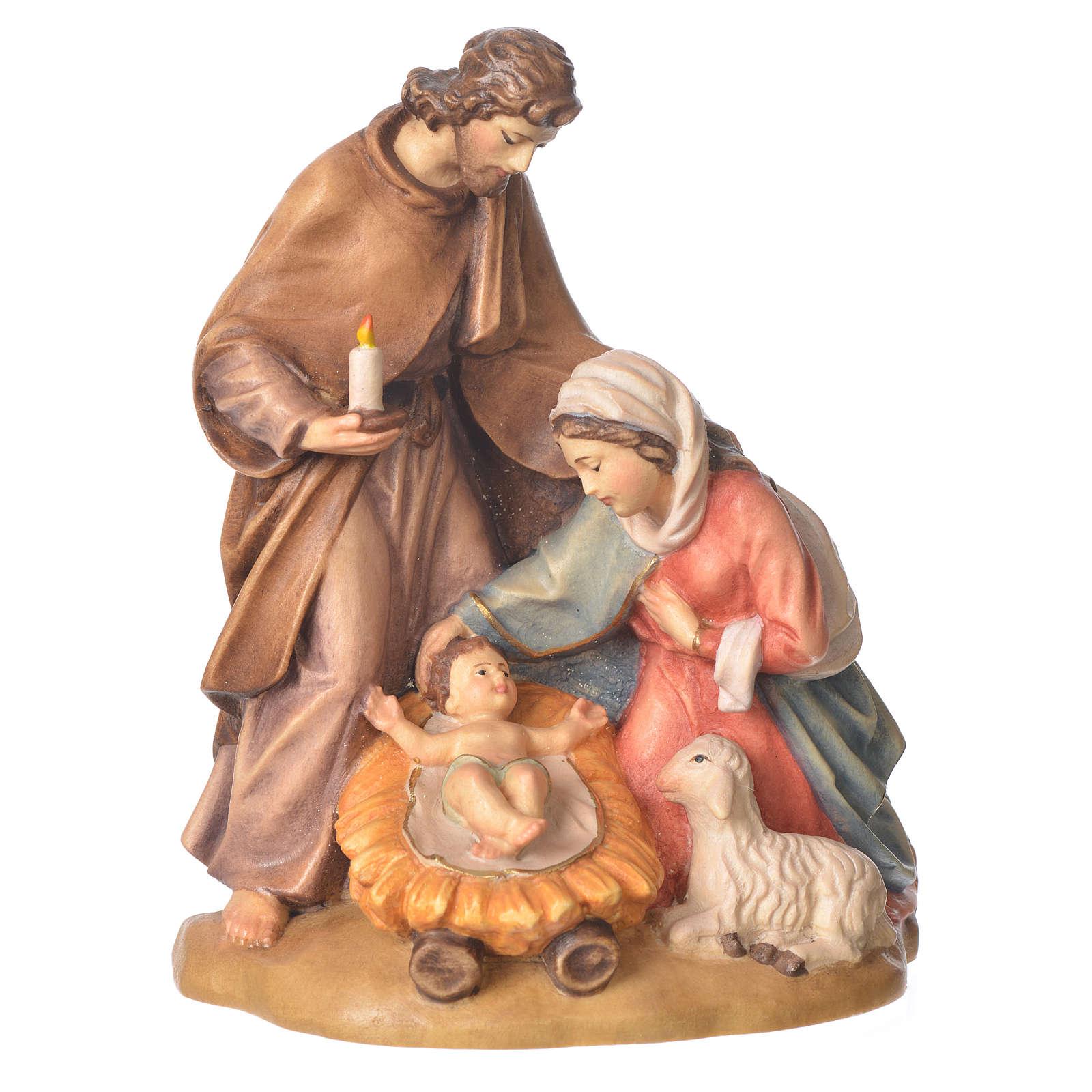 Sacra Famiglia con pecora legno Valgardena dipinto 3