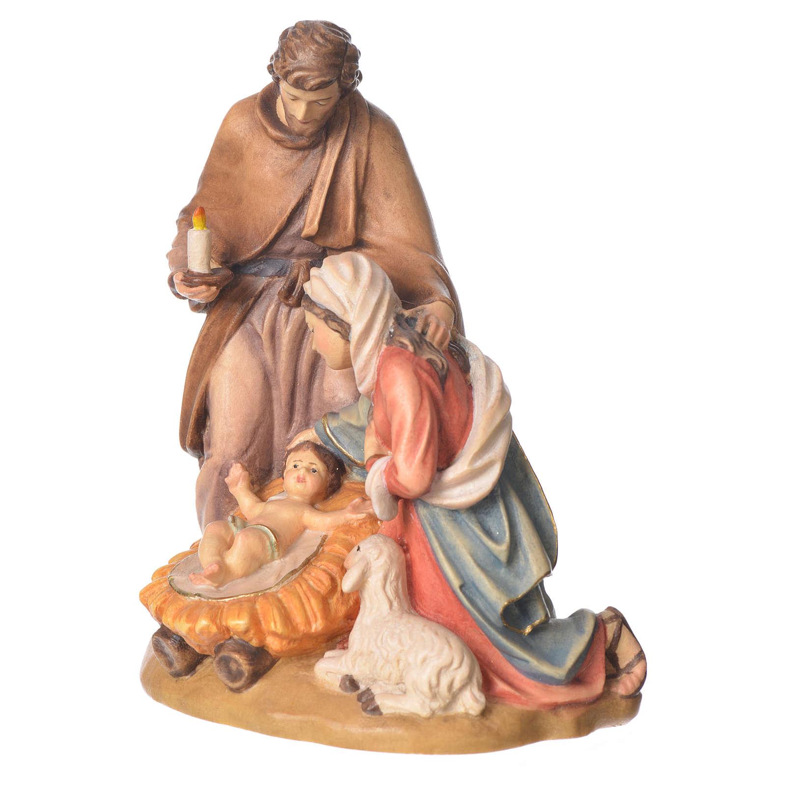 Sagrada Família com ovelha madeira Val Gardena pintada 3
