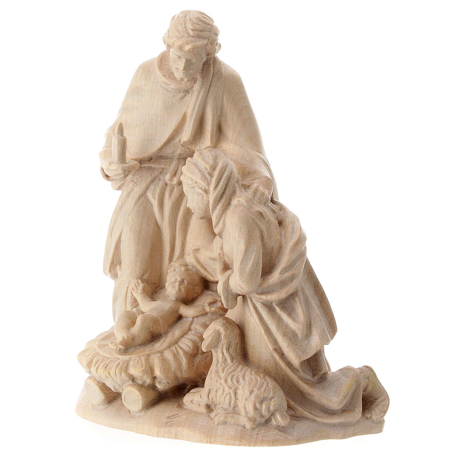 Sacra Famiglia con pecora legno Valgardena naturale cerato 3