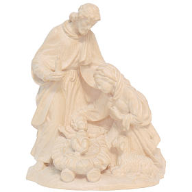 Sacra Famiglia con pecora legno Valgardena naturale cerato s1