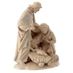 Sacra Famiglia con pecora legno Valgardena naturale cerato s3