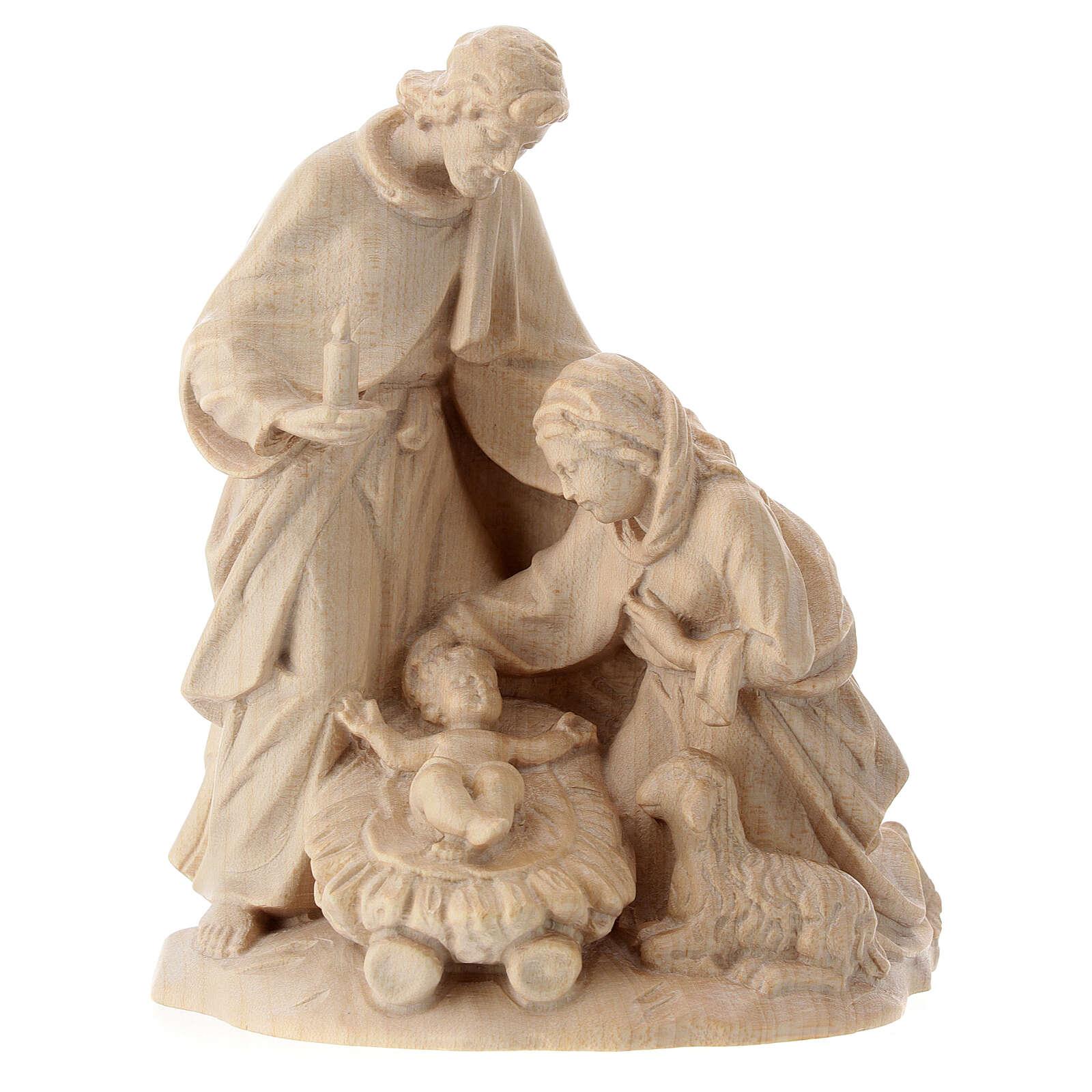 Święta Rodzina z owcą drewno Valgardena naturalne woskowane 3