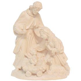 Sagrada Família com ovelha madeira Val Gardena natural encerada s1