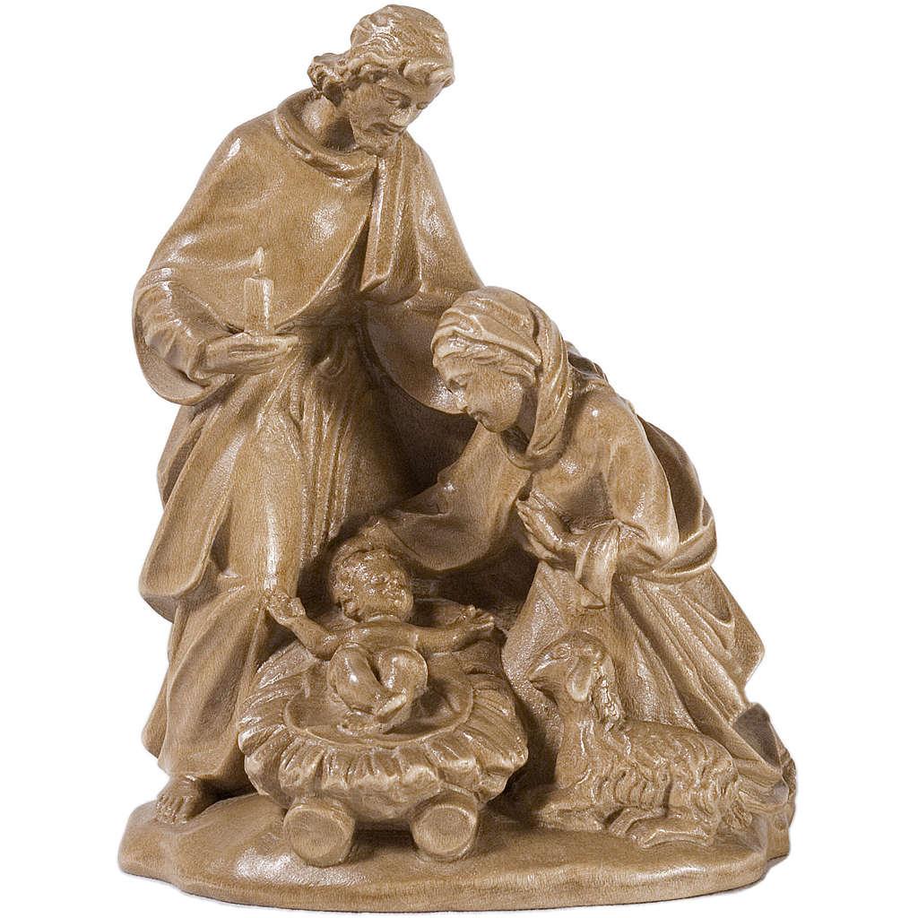Sacra Famiglia con pecora legno Valgardena patinato 3