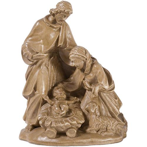 Sacra Famiglia con pecora legno Valgardena patinato 1