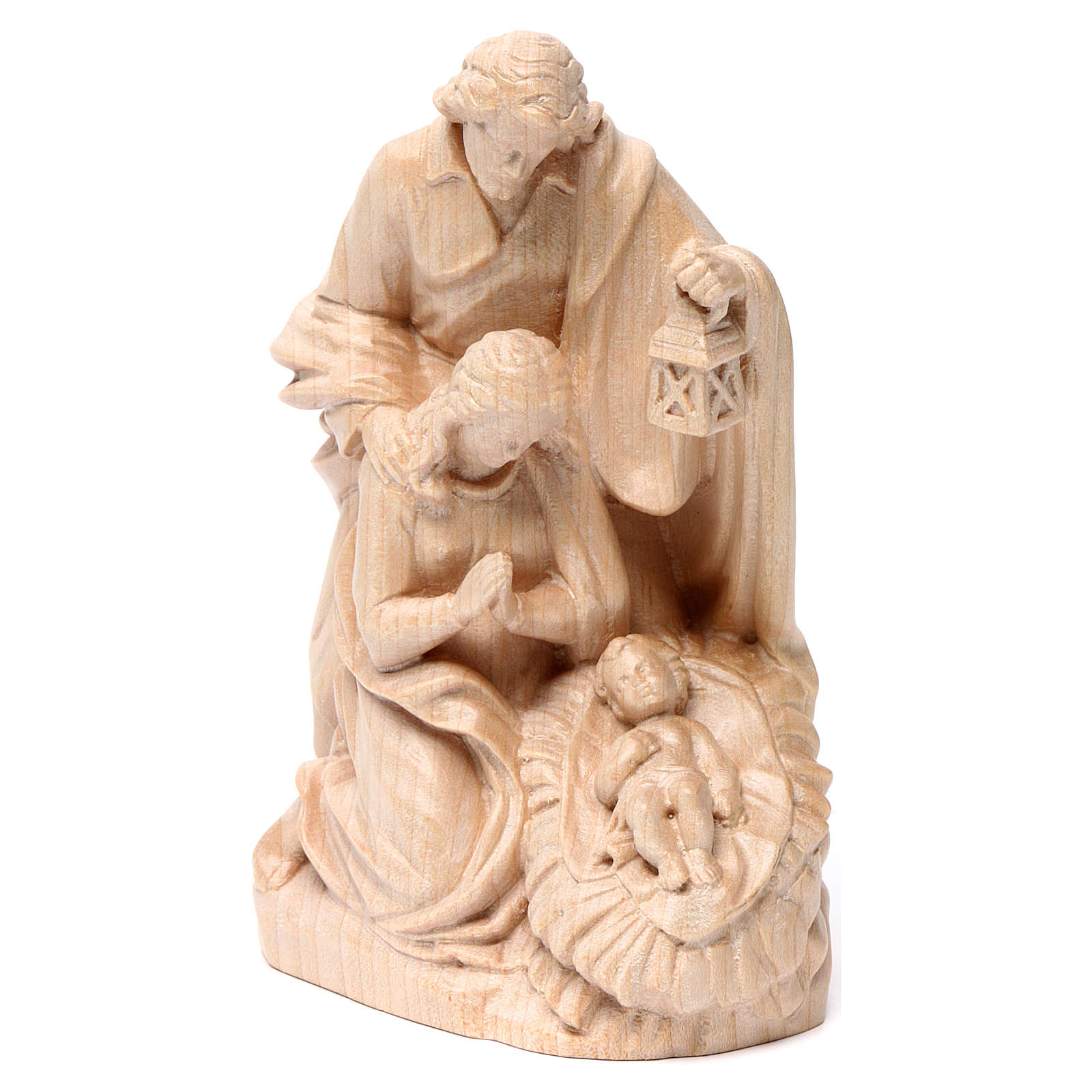 Holy Family group statue in Valgardena wood, natural wax 3