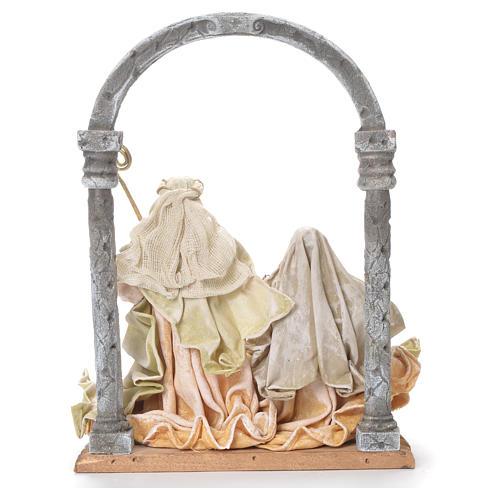 Natività con arco 41 cm stoffa e resina cream gold 3
