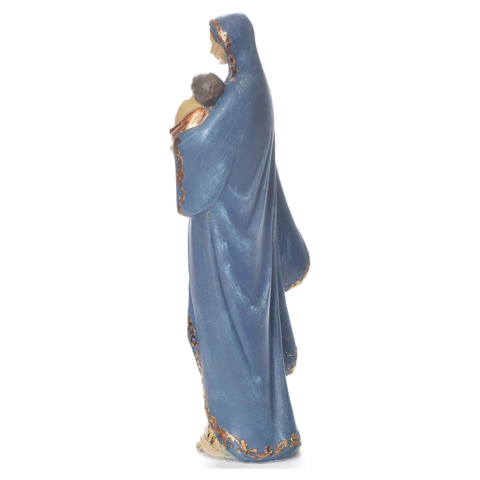María con Niño Jesús, 35.5cm de resina azul y plata 4
