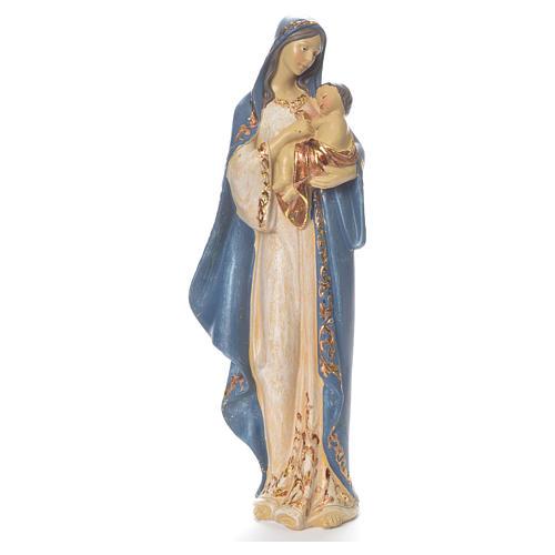 María con Niño Jesús, 35.5cm de resina azul y plata 1
