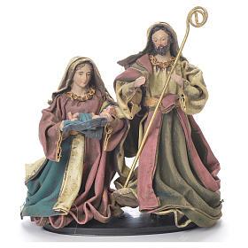 Nativity scene in resin and fabric, 25cm multicoloured s1