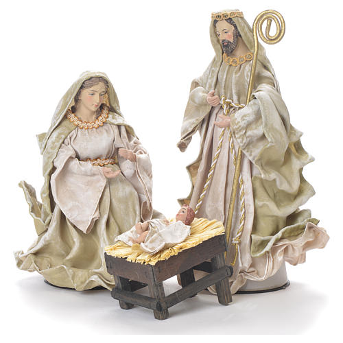 Nativity in fabric and resin measuring 26cm, green beige finish 1