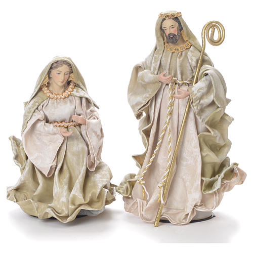 Nativity in fabric and resin measuring 26cm, green beige finish 2
