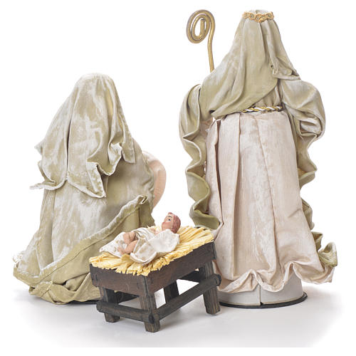 Nativity in fabric and resin measuring 26cm, green beige finish 3