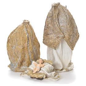 Natività 19 cm resina bianco oro s3