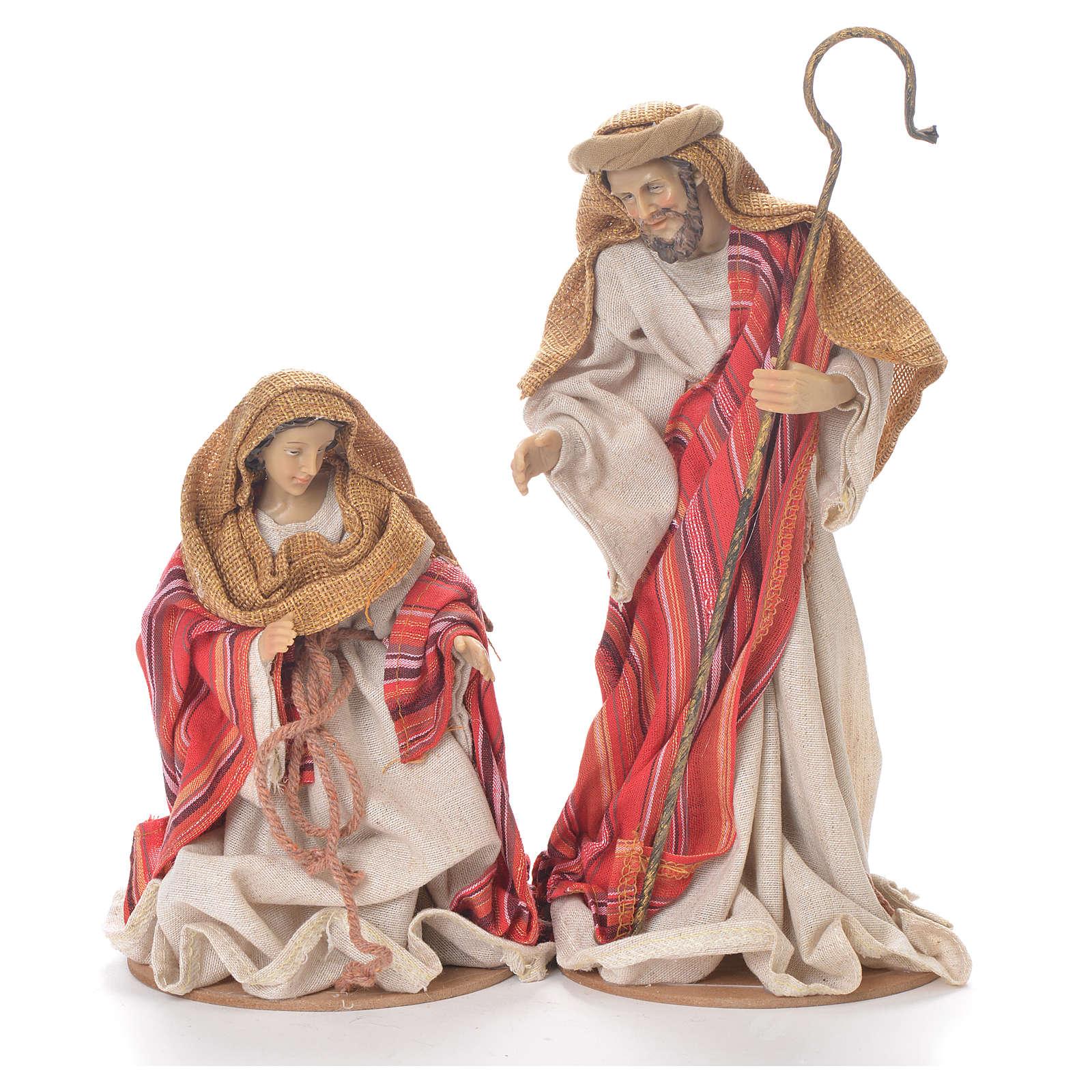 Nativité 26 cm en résine et tissu rouge beige 3
