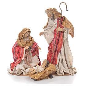 Nativité 26 cm en résine et tissu rouge beige s1