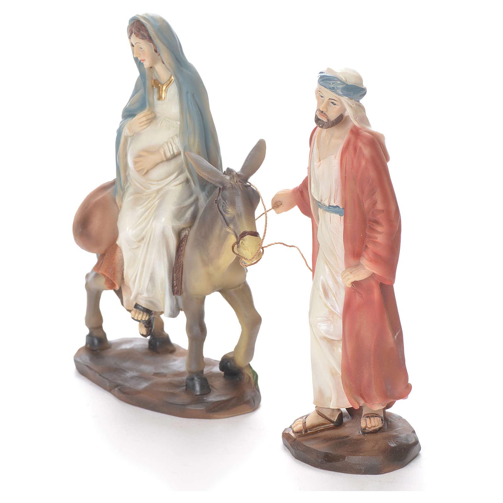 Giuseppe e Maria incinta su asino 26 cm resina 3
