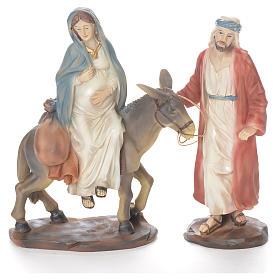 Giuseppe e Maria incinta su asino 26 cm resina s1