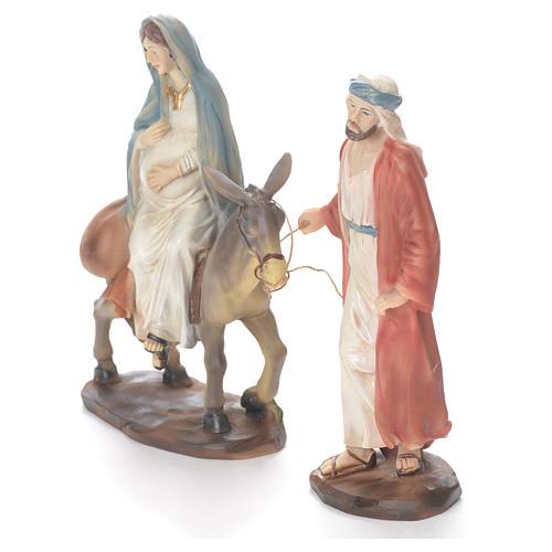 Giuseppe e Maria incinta su asino 26 cm resina 2