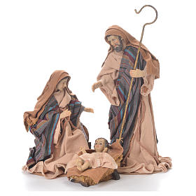 Nativity in fabric and resin measuring 26cm, brown beige finish s1