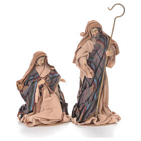 Nativity in fabric and resin measuring 26cm, brown beige finish s2