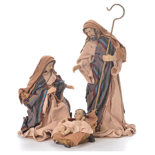 Nativity in fabric and resin measuring 26cm, brown beige finish 1