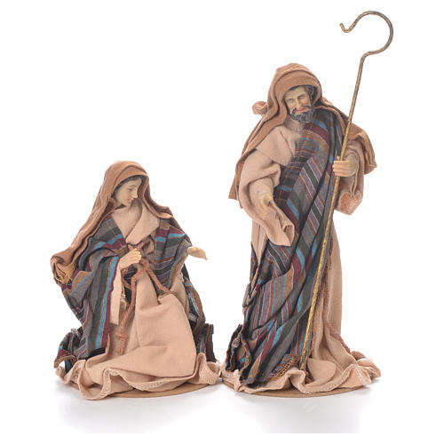 Nativity in fabric and resin measuring 26cm, brown beige finish 2