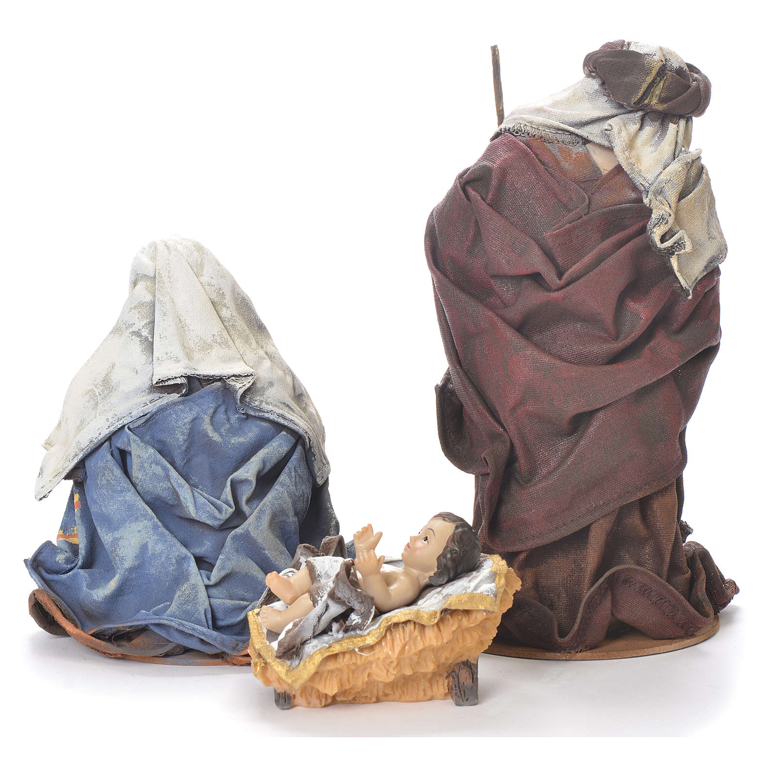 Nativité 20 cm résine tissu coloré 3