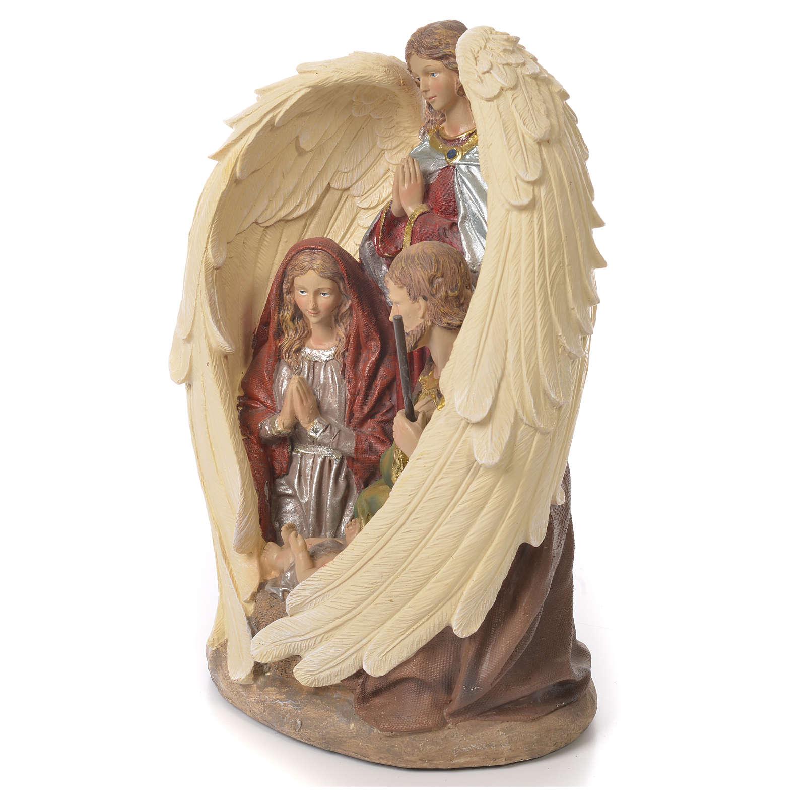 Sacra Famiglia con Angelo 31 cm resina fin. Naturale 3