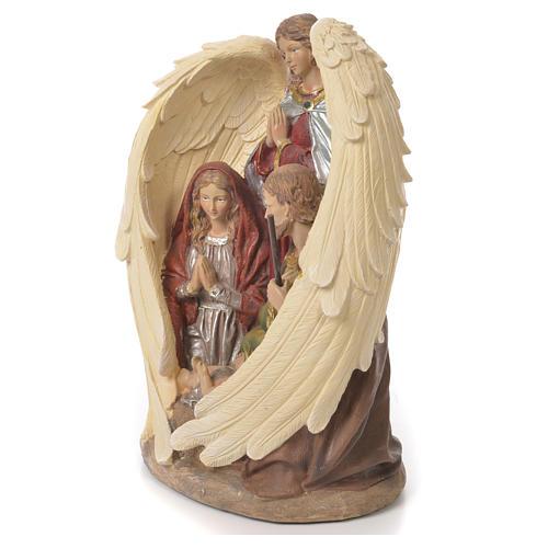 Sacra Famiglia con Angelo 31 cm resina fin. Naturale 2
