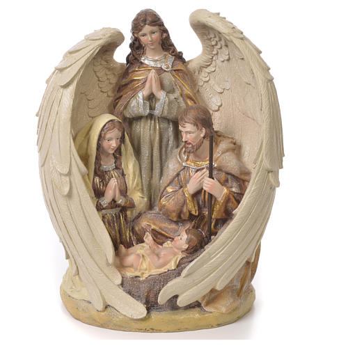 Sacra Famiglia con Angelo 31 cm resina fin. Multigold 1